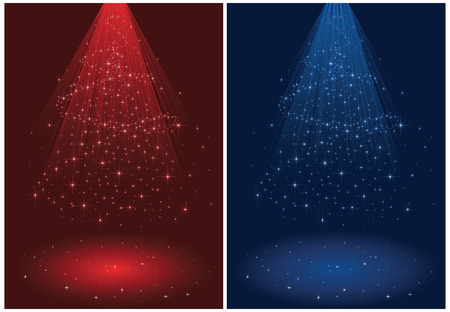 wizardry: Abstract winter background, with stars and Christmas tree, illustration