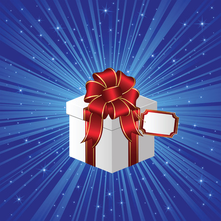 Closed Gift box on stars background, illustration Vector