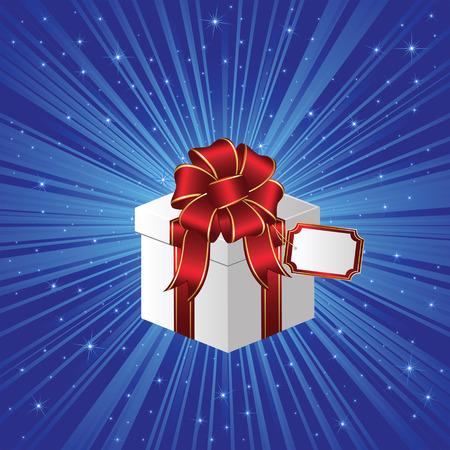Closed Gift box on stars background, illustration Stock Vector - 8093633