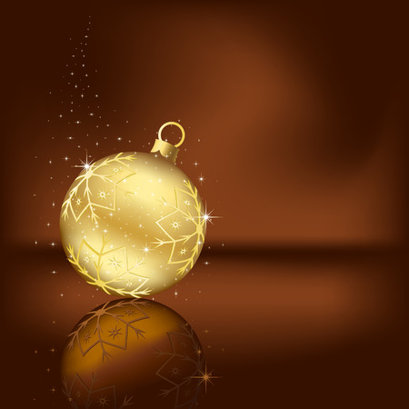 Background with stars and Christmas ball, illustration Vector