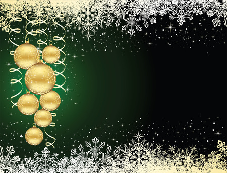 trumpery: Background with snowflakes, stars and Christmas balls, illustration