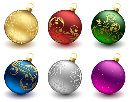 Set of Christmas balls on white background, illustration Stock Vector - 8211856