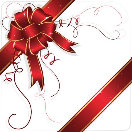 fiocco oro: Holiday prua e nastro, illustrazione