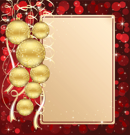 spangles: Background with stars and Christmas balls, illustration Illustration