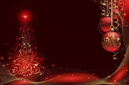 goldy: Fondo con estrellas, bolas y �rbol de Navidad de elementos ornamentados, ilustraci�n