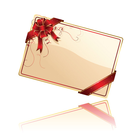 Gift card with red ribbon and bow, illustration Vector