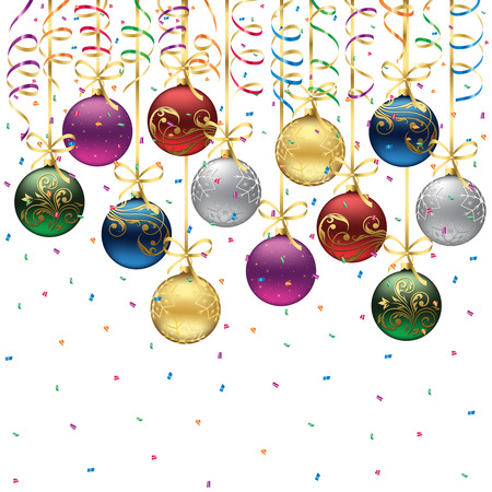 spangle: Set of Christmas balls on white background, illustration