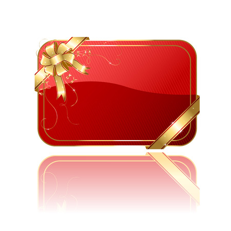 spangle: Gift card with golden ribbon and bow, illustration Illustration