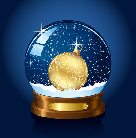 frozen glass: Christmas Snow globe with the falling snow, illustration Illustration