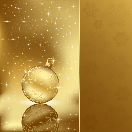 gold brown: Background with stars and Christmas ball, illustration Illustration