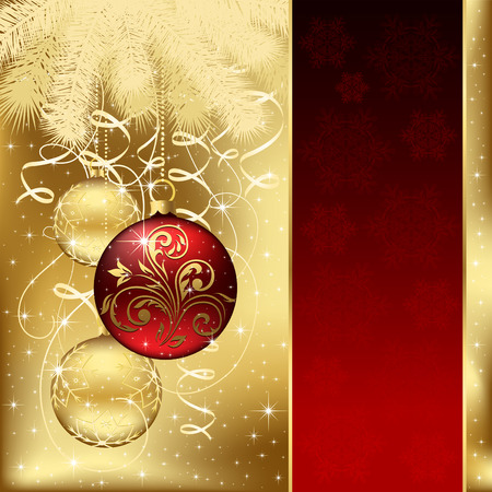 scintillation: Background with stars and Christmas balls, illustration Illustration