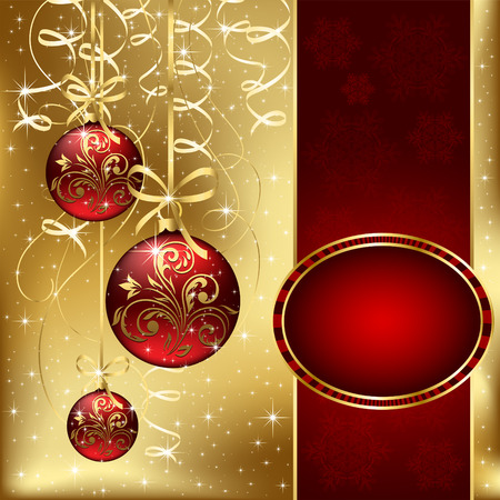 trumpery: Background with stars and Christmas balls, illustration Illustration
