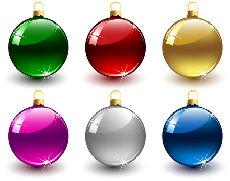 christmas ball: Set of Christmas balls on white background, illustration