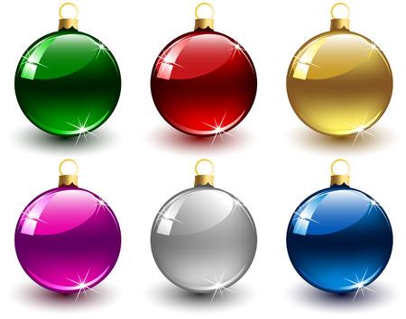 purple glasses: Set of Christmas balls on white background, illustration
