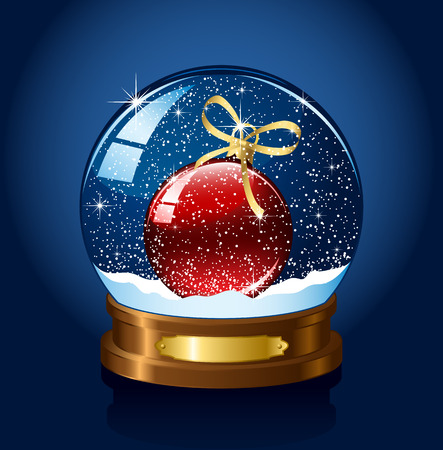 blue christmas background: Christmas Snow globe with the falling snow, illustration Illustration