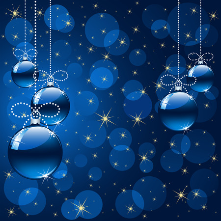 Background with stars and Christmas balls, illustration Stock Vector - 8345950