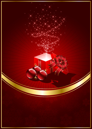 wizardry: Open magic Gift box and Christmas balls, illustration