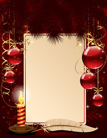 candleholder: Background with candle, Christmas balls and stars, illustration
