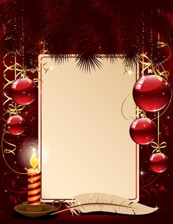 velas de navidad: Fondo con vela, bolas de Navidad y estrellas, ilustraci�n