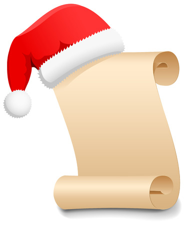 christmas scroll: Christmas Wish List with Santas hat, illustration