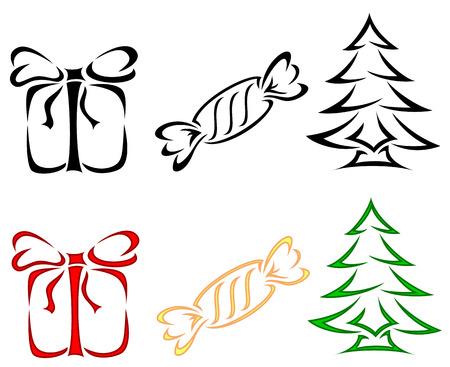 spruce: Set of Christmas icons, illustration