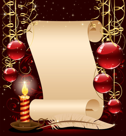 new year scroll: Background with candle, Christmas balls and stars, illustration