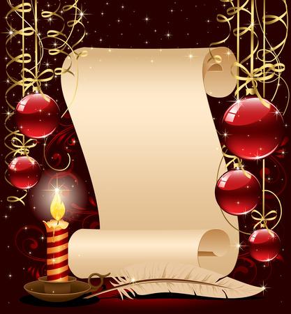 luz de velas: Fondo con vela, bolas de Navidad y estrellas, ilustraci�n