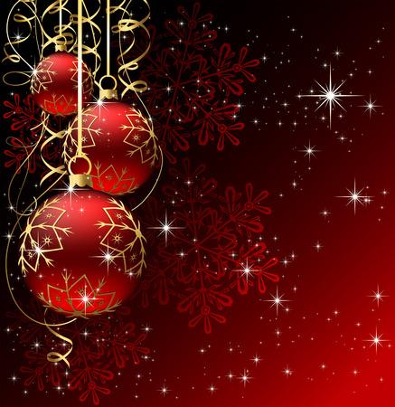 Arrière-plan avec les étoiles et les boules de Noël, illustration