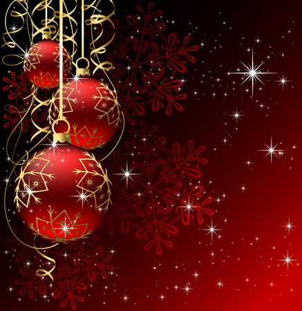 tinsel: Background with stars and Christmas balls, illustration Illustration