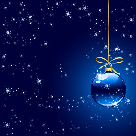 stars in the sky: Background with stars and Christmas balls, illustration Illustration