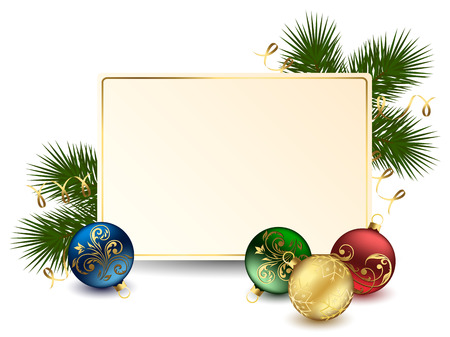 trumpery: Background with card and Christmas balls, illustration