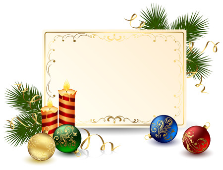 trumpery: Background with card, candles and Christmas balls, illustration