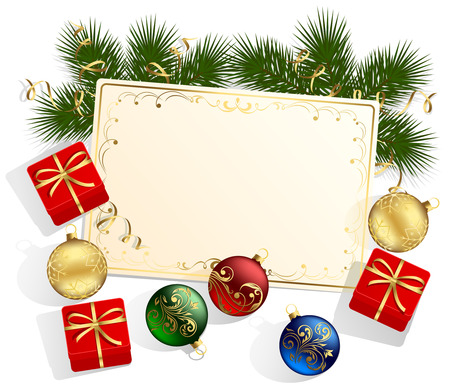 Background with card and Christmas card, gift boxes and balls, illustration Vector