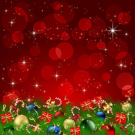Background with Christmas tree, gift boxes, candy and balls, illustration Vector
