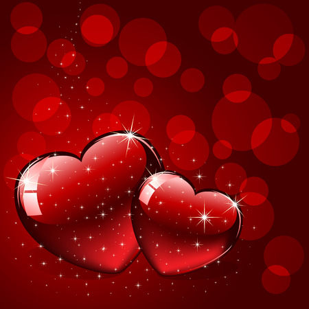 Background with red Hearts, illustration Vector