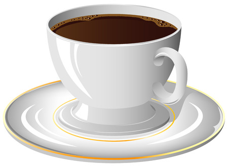 Coffee cup on the saucer, illustration Stock Vector - 8494739