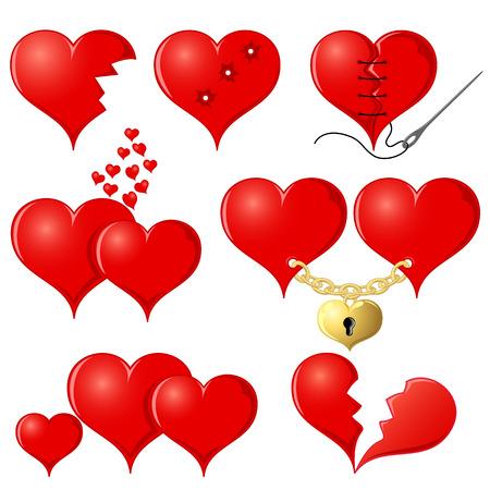 Conjunto de corazones rojos, ilustración
