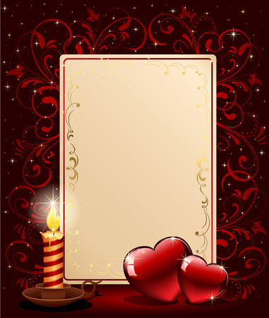 Background with candle, hearts and stars, illustration Vector