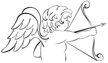 st valentins day: Cupido con un inchino, illustrazione