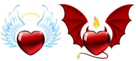 Good and evil hearts, illustration Vector