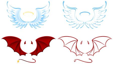 brandweer cartoon: Engel en duivel vleugels, afbeelding