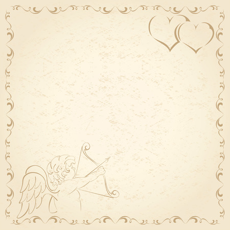 Old grunge paper with Cupid and Hearts, illustration Vector