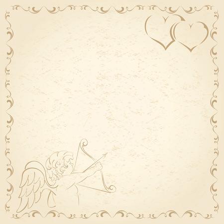 st valentins day: Vecchia carta grunge con amore e cuori, illustrazione