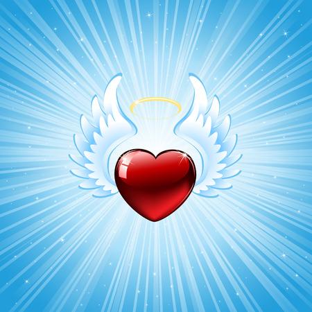 Heart on blue background, illustration