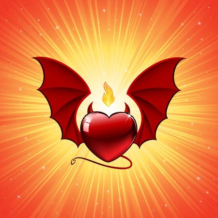 Heart on orange background, illustration Vector