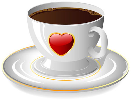 latte: Coffee cup with red Heart on the saucer, illustration