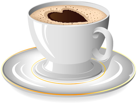 gold cup: Coffee cup with Heart on the saucer, illustration