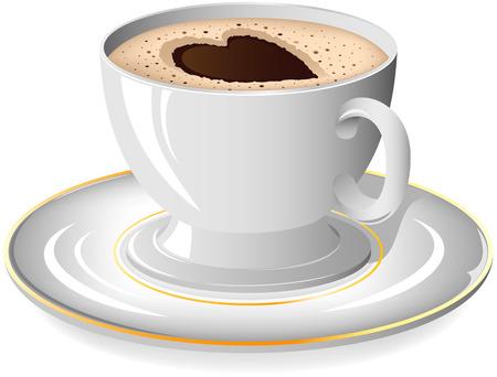 hot chocolate drink: Taza de caf� con el coraz�n en el plato, ilustraci�n