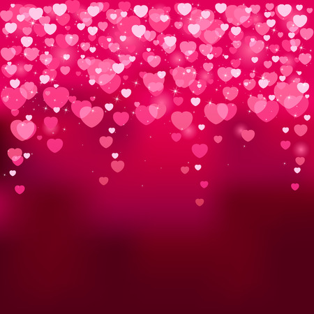 glitter heart: Red background with blurry hearts, illustration Illustration