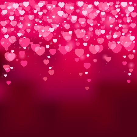 st valentins day: Sfondo rosso con cuori sfocata, illustrazione Vettoriali
